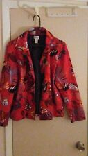 Chico's Jacket size 3 multi color short lenght great colors red brown leaves