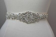Clear Rhinestone Bridal Dress Applique -Wedding Trim-Bridal Belt DIY USA SELLER