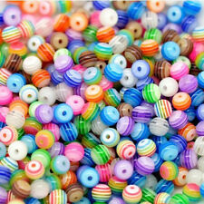 200pcs Wholesale Multicolor Striped Resin Round Spacer Loose Beads 6mm