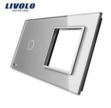 Glas Abdeckung für 1 Gang Touch Lichtschalter + Steckdose Grau Kristall  Glas