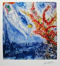 Marc Chagall FLOWERS OVER PARIS Limited Edition Facsimile Signed Giclee