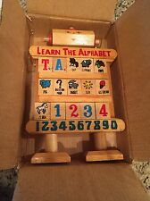 Wooden Robot Learn The Alphabet w/ Double Sided Tiles Educational Toy  9 3/4""
