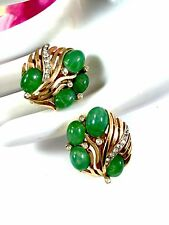 CROWN TRIFARI JEWEL OF INDIA JADE GLASS CABOCHON RHINESTONE CLIP EARRINGS SET