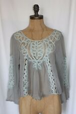 SHEER GRAY INSET LACE CROP TOP BY WILLOW AND CLAY NEW SZ SMALL