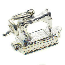 British Sterling Silver Sewing Machine Opening Charm by Welded Bliss. Split ring