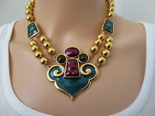 AN IMPORTANT 1970'S SIGNED YVES ST LAURENT YSL RUNWAY ENAMELED JEWELED NECKLACE