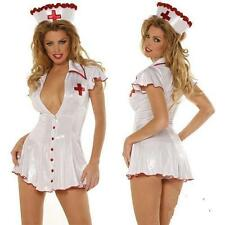 Adult Womens Sexy White Nurse Costume Dress Halloween Outfit Lingerie New