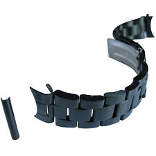 22mm Hadley-Roma MB5918 Mens Satin Matte Black PVD-Finish Watch Band Bracelet