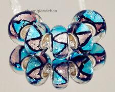 5pcs MURANO Lampwork charm Beads fit 925 silver European Bracelet Chain a867