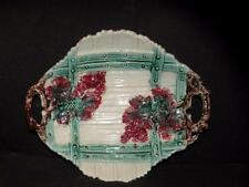 ANTIQUE MAJOLICA SERVING DISH FENCE  AND FLOWERS