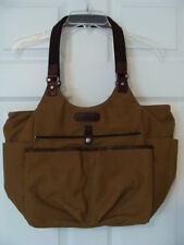 ELLINGTON TAN CANVAS LARGE TOTE WITH LEATHER TRIM & PLENTY OF COMPARTMENTS EUC