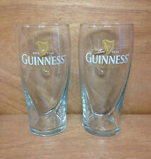 Guinness Beer Emobssed Harp Glass Set of 2 Glasses - New Style