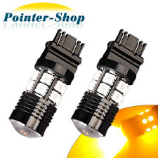 2 x 3157/3156 High Power 7W Yellow Brake/Stop/Tail/Turn Signal Amber LED Bulbs