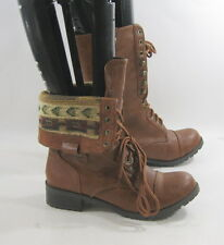"TAN 1.5"" low ankle Lace Rugged Military Combat Riding Winter sexy boot size  7"