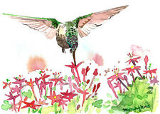 ACEO Limited Edition -Backyard buzz, Art print of watercolor, Gift for her