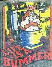LIFE IS A BUMMER vintage 70s iron on t shirt transfer full size