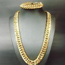 18K gold filled Bracelet necklace set 13MM Curb chain HUGE Cool men's