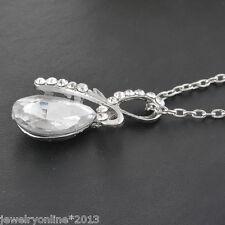 Neu 1 Halskette Weiß Kristall Strass Engel Träne Anhänger Tropfen Modeschmuck