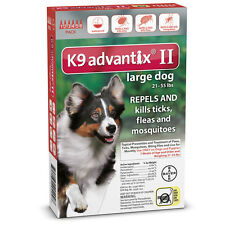 Bayer K9 Advantix II Large Dogs 21-55 lbs 6 Pack Plus 1 Extra Tube Free