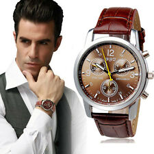 Fashion Mens Luxury Crocodile Faux Leather Quartz Analog Wrist Watches
