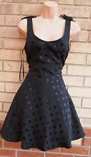 PAPAYA BOW SHOULDER SPOTTY POLKA DOT BLACK SKATER PROM A LINE RARE DRESS 14 L