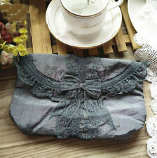 Elegant Grey Lace Butterfly Bow Embroidery Makeup Bag Storage Bag Purse