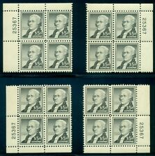US #1053 $5.00 Hamilton, Matched set of 4 Corner Plate No. Blocks of 4, og, NH,