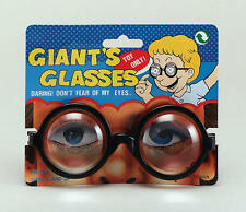 Large Round Black Geek Glasses Nerd School Disco Wizzard Fancy Dress