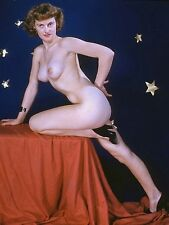 1960s Pinup Nude in High Heels Posing On Studio prop table 8 x 10 Photograph