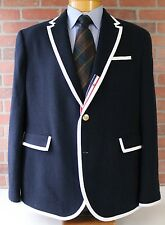 Thom Brown Neiman Marcus Navy Blazer Jacket White Trim 100% Wool XL Limited