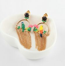 LES NEREIDES PARIS Tropical Jungle Parrots On A Branch Tassel  Drop Earrings NEW