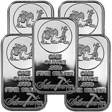 SilverTowne Logo 1oz .999 Fine Silver Bar LOT OF 5