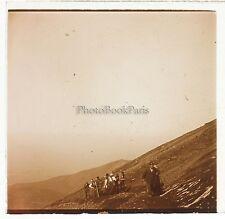 Italie Ascension du Vésuve Plaque de verre stéréo Positif Vintage 1908