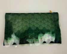 PRADA Emerald Green Silk Paillettes Scale Clutch