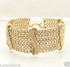 "8"" Technibond Wide 6 Row Curb Link Bracelet 14K Yellow Gold Clad Silver"