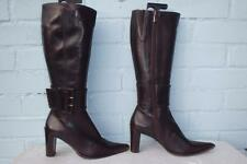 ~ ANGELA FALCONI LEATHER BOOTS ~ Ladies Size 5 38 ~ BUCKLES BROWN LEATHER BOOTS