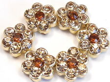 6 - 2 HOLE SLIDER BEADS GOLD PLATED COLORADO TOPAZ & SMOKY TOPAZ CRYSTAL FLOWERS