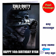 Personalised CALL of DUTY GHOSTS Birthday - Christmas Card ANY NAME ps3 xbox COD