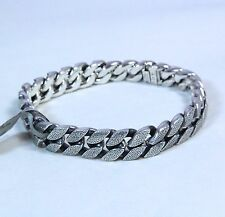 "New David Yurman Men's Stippled Sterling Silver Curb Chain Bracelet 8.5"" $1050"