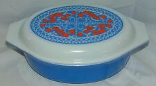 Pyrex NEW HOLLAND*BLUE/RED TULIPS *2.5 QT OVAL CASSEROLE w/LID* 045*PROMOTIONAL*
