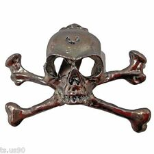 Stainless Steel Skull Pirate Goth Punk Biker Lapel Crossbone Pin Badge Brooch