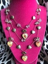 Betsey Johnson Vintage Puffy Heart Tattoo Lucite NAUGHTY NICE XOX Necklace RARE