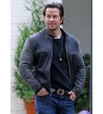 Daddys Home Mark Wahlberg Distressed Slim Fit Vintage Black Biker Leather Jacket