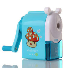 Blue Pencil Sharpener Hand Crank Sharpening Cute Cartoon Manual School Kids ATAU