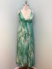 BCBG maxazria Green Floral Beaded Excellent Cocktail Party 10 12 L Formal SILK