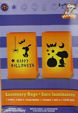 Halloween Peanut Snoopy Happy Halloween Luminary Orange Bags Stencil Bags Marker