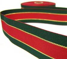 "SALE! 2 Yd Christmas Dark Green Red Gold Line Striped Grosgrain Ribbon 1 3/8""W"