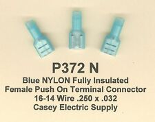 25 Blue NYLON Insulated FEMALE Push On QD Terminal Connectors #16-14 Wire MOLEX
