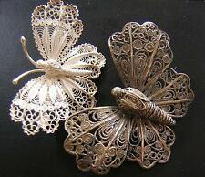2 BEAUTIFUL ANTIQUE & VINTAGE  SILVER FILIGREE BUTTERFLY BROOCHES PINS - ITALY