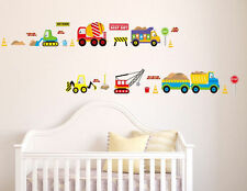 Wall Decal Sticker Vinyl Baby Boy Kids Playing Room Trucks Cars Crane Toy Play